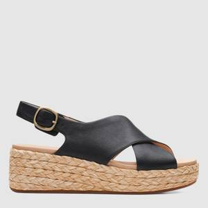 Clarks Women's Kimmei Cross Leather Wedged Sandals - Black