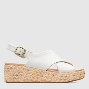 Clarks Women's Kimmei Cross Leather Wedged Sandals - White
