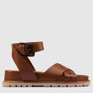 Clarks Women's Orianna Cross Leather Sandals - Dark Tan