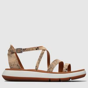 Clarks Women's Jemsa Strap Leather Sandals - Taupe Snake