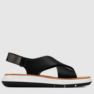 Clarks Women's Jemsa Cross Leather Sandals - Black