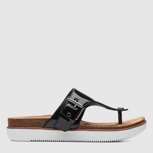 Clarks Women's Elayne Step Patent Leather Toe Post Sandals - Black
