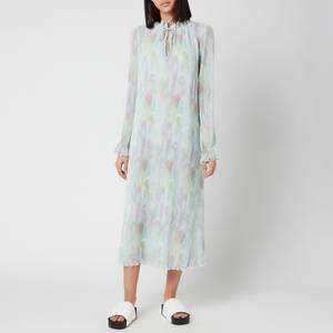 Ganni Women's Pleated Georgette Midi Dress - Bright White