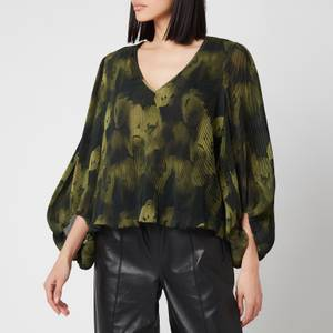 Ganni Women's Pleated Georgette Top - Olive Drab