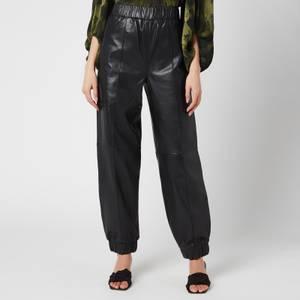 Ganni Women's Lamb Leather Trackpants - Black