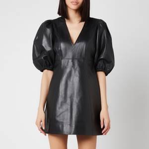 Ganni Women's Lamb Leather Dress - Black