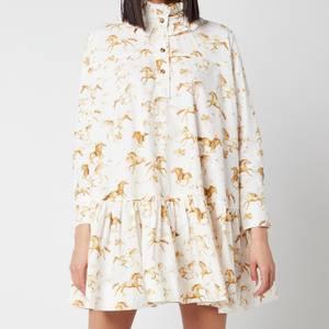 Ganni Women's Printed Cotton Poplin Dress - Cognac