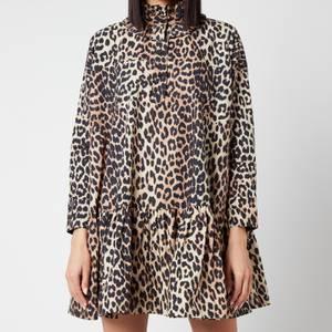 Ganni Women's Printed Cotton Poplin Dress - Leopard