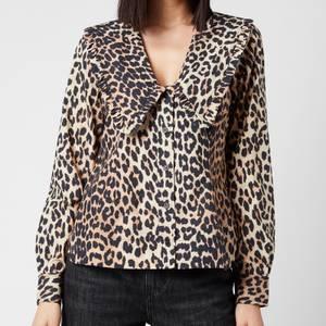 Ganni Women's Printed Cotton Poplin Shirt - Leopard