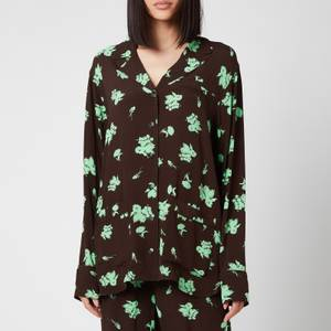 Ganni Women's Printed Crepe Shirt - Mole