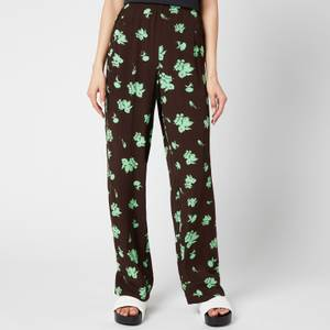 Ganni Women's Printed Crepe Trousers - Mole