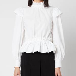 Ganni Women's Cotton Poplin High Neck Shirt - Bright White