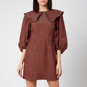 Ganni Women's Seersucker Check Dress - Flame