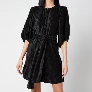 Ganni Women's Pleated Satin Dress - Black