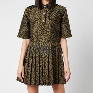 Ganni Women's Crispy Jacquard Dress - Olive Drab
