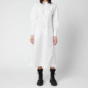Ganni Women's Printed Cotton Poplin Dress - Bright White