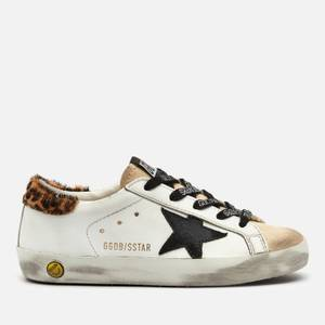 Golden Goose Deluxe Brand Kids' Super Star Leather Trainers - White/Beige/Black/Beige Brown Leo