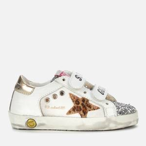 Golden Goose Deluxe Brand Toddlers' Old School Leather & Canvas Trainers - White/Silver/Beige Leo
