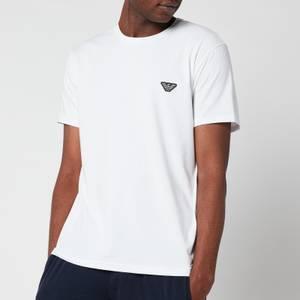 Emporio Armani Men's Shiny Logoband Crew Neck T-Shirt - White