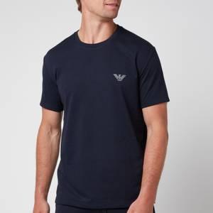 Emporio Armani Men's All Over Logo Terry Crew Neck T-Shirt - Blue