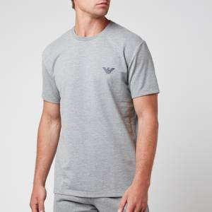 Emporio Armani Men's All Over Logo Terry Crew Neck T-Shirt - Grey Melange