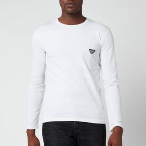 Emporio Armani Men's Shiny Logoband Longsleeve T-Shirt - White