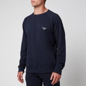 Emporio Armani Men's All Over Logo Terry Crew Neck Sweatshirt - Blue