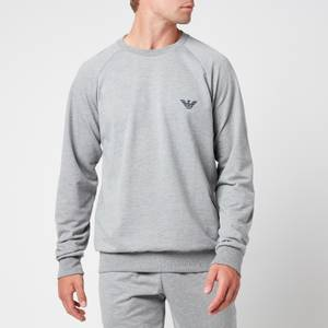 Emporio Armani Men's All Over Logo Terry Crew Neck Sweatshirt - Grey Melange