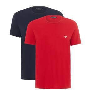 Emporio Armani Men's Endurance 2-Pack Crew Neck T-Shirts - Red/Blue