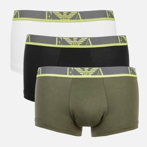 Emporio Armani Men's Monogram 3-Pack Trunks - Green/White/Black