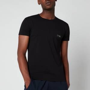 Emporio Armani Men's Monogram 2-Pack Crew Neck T-Shirts - Black