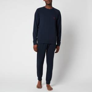 Emporio Armani Men's Stretch Terry Sweatshirt and Trousers Set - Blue