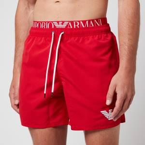 Emporio Armani Men's Logoband Swim Shorts - Red