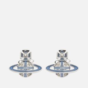 Vivienne Westwood Women's Suffolk Bas Relief Earrings - Rhodium Crystal Light Sapphire