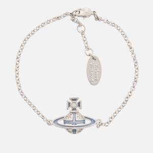 Vivienne Westwood Women's Suffolk Bas Relief Bracelet - Rhodium Crystal Light Sapphire