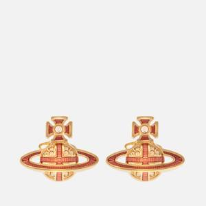 Vivienne Westwood Women's Suffolk Bas Relief Earrings - Gold Light Gold Quartz Rose