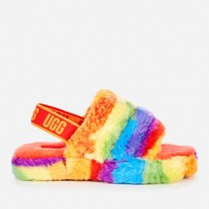 UGG Kids' Fluff Yeah Cali Collage Slide Slippers - Rainbow Stripe