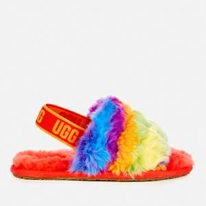 UGG Kids' Fluff Yeah Cali Collage Slide Slippers - Rainbow Stripes
