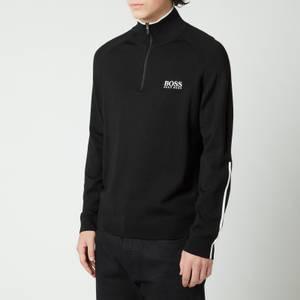 BOSS Athleisure Men's Zenno Zip-Neck Contrast Detailing Sweatshirt - Black