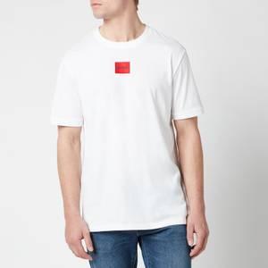 HUGO Men's Regular Fit Red Logo T-Shirt - White
