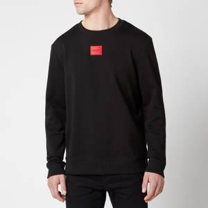 HUGO Men's Cotton Terry Red Logo Sweatshirt - Black