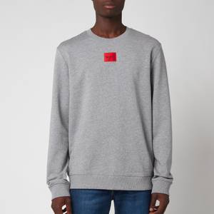 HUGO Men's Cotton Terry Red Logo Sweatshirt - Medium Grey