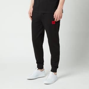 HUGO Men's Red Logo Patch Sweatpants - Black
