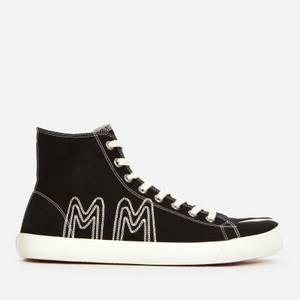 Maison Margiela Men's Canvas/Embroidery Hi-Top Trainers - Black/Ecru