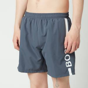 BOSS Swimwear Men's Dolphin Recycled Fabric Logo Print Swimshorts - Dark Grey
