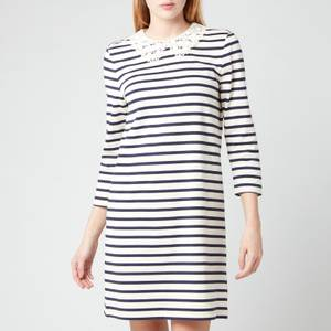Kate Spade New York Women's Lace Collar Striped Tee Dress - Cream