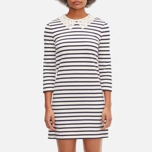 Kate Spade New York Women's Lace Collar Striped Tee Dress - Cream