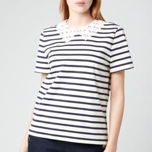 Kate Spade New York Women's Striped Lace Collar T-Shirt - Cream