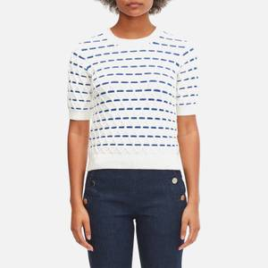 Kate Spade New York Women's Striped Cable Sweater - French Cream