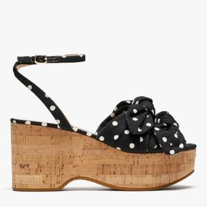 Kate Spade New York Women's Julep Wedged Sandals - Black/French Cream